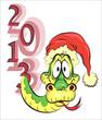 Очумевшая змея в новогоднем колпаке. а с лева от нее надпись 2013.
