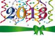 Надпись 2013 на праздничной зелёной ленте, украшена серпантином.