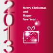 На красном фоне изображен новогодний подарок, а с верху в низ идет надпись 2013.
