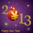 На синем фоне вспышки огоньков, в левом нижнем углу надпись happy new year! По диагонали надпись 2013, вместо цифры 0 красный шарик, а на нём дед мороз.