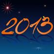 Надпись 2013 на синем фоне.