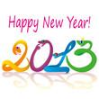 Розовая надпись Happy New Year! Под ней надпись 2013 цифрами в виде разноцветных змеек, которые зеркально отражаются снизу)