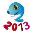 Синяя змейка с высунутым языком. Под ней надпись красными цифрами 2013.