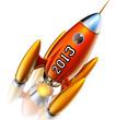 Летящая в верх ракета с надписью 2013.