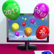 Телевизор, а из него вылетают разноцветные шарики с надписью 2013. LSD?