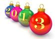 Разноцветные ёлочные шарики выставленные по диагонали с надписью 2013.