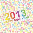 На фоне разноцветных шариков красуется разноцветная надпись: 2013 happy new year.