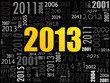 Надпись 2013. Жёлтые цифры на чёрном фоне.