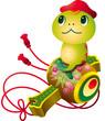 Прикольная змейка в китайской красной шапочке сидит на волынке