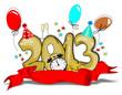 Золотистая надпись 2013 в шарах, опоясанная красной лентой. В центре надписи - часы, напоминают о наступлении Нового Года.