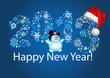Надпись Happy New Year и снеговик в чёрном цилиндре на синем фоне и на фоне надписи 2013 из снежинок разного цвета, размера и формы. На цифре 3 - шапочка Санты.