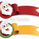 2 новогодних баннера в виде ленты и медальона с Сантой. Один - красный, второй жёлто-зелёный