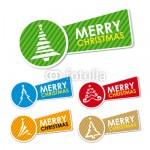 5 горизонтальных новогодних баннеров в виде ленты с медальном. На медальоне нарисованы контуры ёлок, на ленте надпись наискосок. Баннеры зелёного, красного, жёлтого, бежевого, голубого цвета.