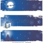 Подборка из 3 синих новогодних баннеров - горизонталь.