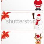 3 горизонтальных новогодних баннера светло-серого цвета. На первом в правом углу костюм Санты, на двух других слева красный бант, справа - Снеговик и Олень в новогодней шапочке
