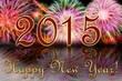 Яркий салют, надпись с Новым 2015 годом