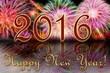 Яркие отблески салюта и надпись с Новым 2016 годом