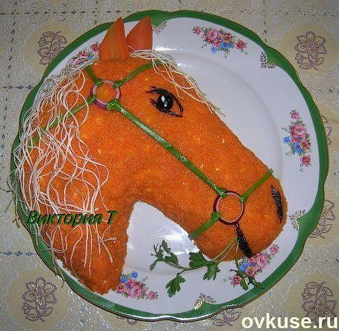 Оформляем салат к году Лошади