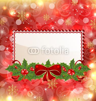 Баннеры разных цветов с гирляндой из хвои, остролиста, цветов (3)