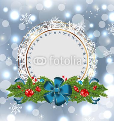 Баннеры разных цветов с гирляндой из хвои, остролиста, цветов (4)