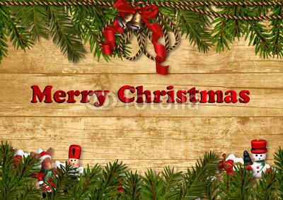 Баннер в стиле кантри. Гирлянды их хвои и ёлочных шаров, новогодняя символика на фоне серых и коричневых струганых досок (16)