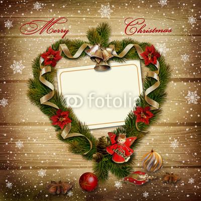 Баннер в стиле кантри. Гирлянды их хвои и ёлочных шаров, новогодняя символика на фоне серых и коричневых струганых досок (2)