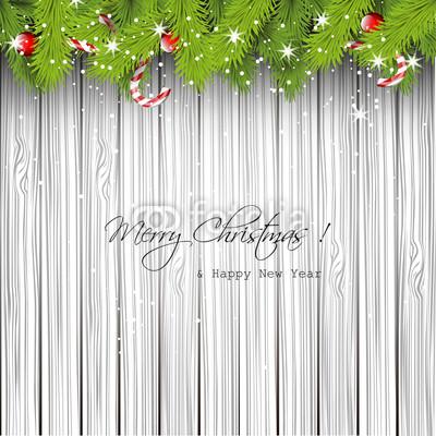 Баннер в стиле кантри. Гирлянды их хвои и ёлочных шаров, новогодняя символика на фоне серых и коричневых струганых досок (7)
