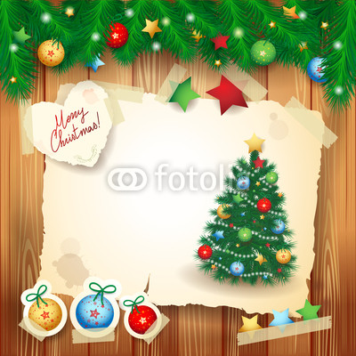 Баннер в стиле кантри. Гирлянды их хвои и ёлочных шаров, новогодняя символика на фоне серых и коричневых струганых досок (8)