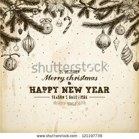 Винтажный новогодний баннер со старинными ёлочными украшениями