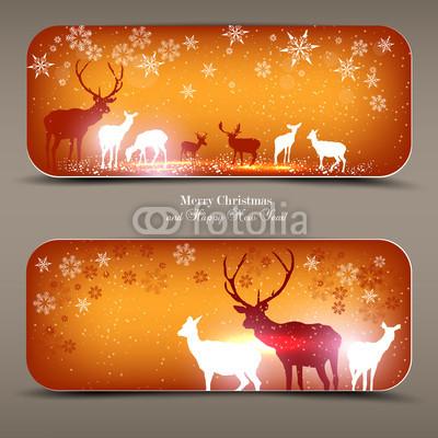 КРасивые новогодние баннеры с оленями