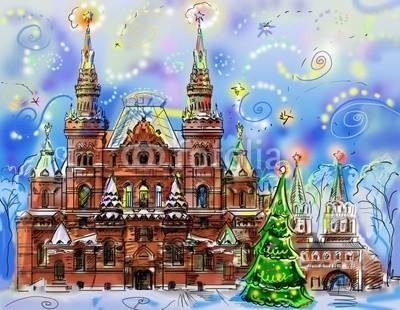 Красивый эффектный баннер Новогодняя Москва