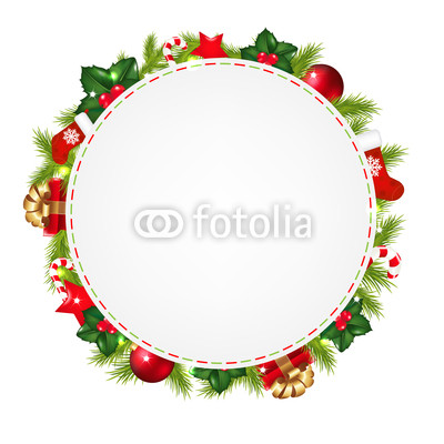 Новогодний баннер в виде венка из хвои и ёлочных украшений (1)