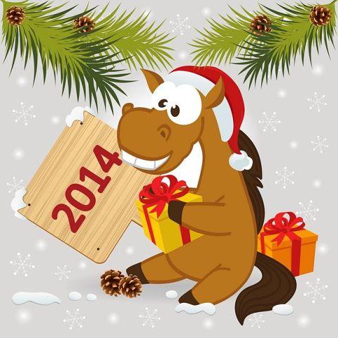 Новогодние открытки с лошадкой (17)