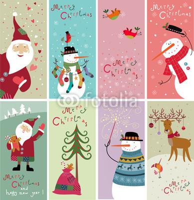 Серия новогодних баннеров с забавными рисунками (1)