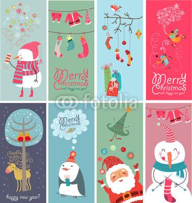 Серия новогодних баннеров с забавными рисунками (2)