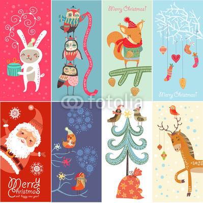 Серия новогодних баннеров с забавными рисунками (4)