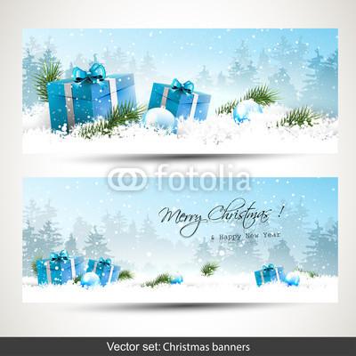 Сине голубые новогодние баннеры (12)