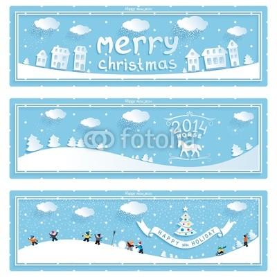 Сине голубые новогодние баннеры (13)