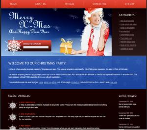 Красивый новогодний сайт в формате HTML. 1 колонка, меню расположено по горизонтали. Цветовая гамма - бордовый и синий. В шапке нарисована девушка в костюме Санты