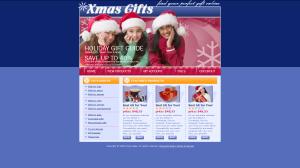 Новогодний магазин. В шапке на фоне снежинок три девочки в колпаке Санты. 2 колонки. Цветовая гамма - белый, синий, бордовый. Разделитель меню - снежинка на оранжевом фоне. Формат HTML