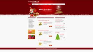 Новогодний сайт на 3 колонки. В шапке стилизованная ёлочка и Санта. Цветовая гамма - белый и красный. Формат HTML