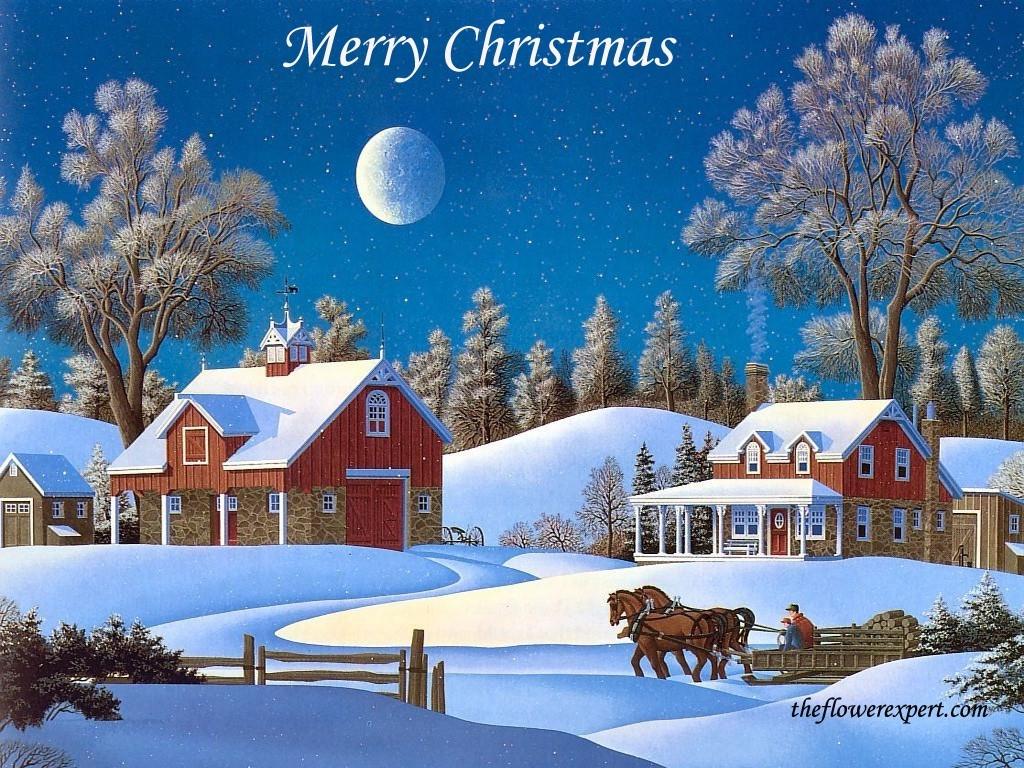 Зимняя деревня открытка