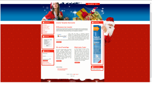 Новогодний интернет-магазин. 2 колонки. Цветовая гамма - синий, краснй, белый. В шапке девушка и много новогодних подарков в хорошей упаковке