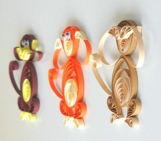 Новогодний квиллинг обезьяны